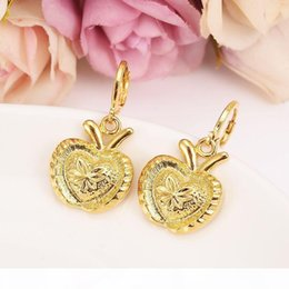 rabbit earrings NZ - S New Christmas Yellow Fine Gold Filled Big Apple Bridal Jewelry Set Rabbit Ear Pendant Earrings Kids Wedding Jewelry Gift