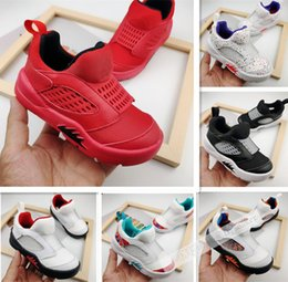 slip basketball shoes NZ - Wholesale baby shoes 5s Kids basketball shoes Bred Black Red slip-On Boys sport shoes children sneaker Kids gift 22-35