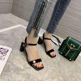 genuine lambskin leather NZ - high quality! 2020 new 052602y iovry black beige genuine leather pearl suede chunky kitten heels sandals 6cm lambskin fashion square to3182#