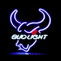 "lighted bud beer signs Canada - Bud Light Steer Head Neon Sign Custom Handmade Real Glass Tube Restaurant Beer Bar KTV Club Advertise Decoration Display Neon Signs 14""X17"""