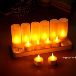 night lamp designs Australia - New Design 12pcs Rechargeable Flameless Led Candle Tealight Night Light For Romantic Birthday Wedding Party Dinner Holidays Decor