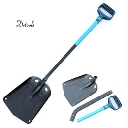 long handled shovels Canada - Aluminum alloy snow shovel alloy multi-function outdoor long handle folding bike off-road garden planting shovel color random T200115