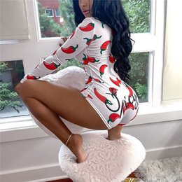 Wholesale bodycon romper shorts long sleeve for sale - Group buy Novel Style Chili Printed Short Jumpsuits Long Sleeve Casual V neck Bodycon Romper Slim Stretch Sexy Autumn Christmas Playsuits