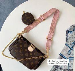 Venta al por mayor de 3 piezas / juego favorito con múltiples accesorios pochette de lujo del diseñador del monedero del bolso de cuero genuino L hombro de la flor de las señoras bolso crossbody monederos