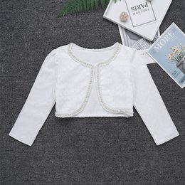 Wholesale dance cardigan online – oversize ChicTry Girls Ballroom Ballet Tops Short Jacket Dance Wear White Long Sleeve Lace Beaded One Button Kids Bolero Shrug Cardigan