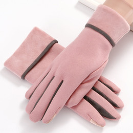 velvet touch gloves NZ - New suede women's fashion warm cycling finger flip plus velvet thickened touch Warm Bicycle gloves screen gloves