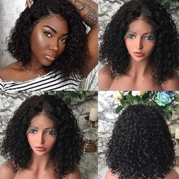 brazilian virgin kinky curly lace wig UK - Short Deep Curly Pre-plucked Hairline Lace Front Wig Full Lace Wig Malaysian Virgin Hair 150% Density Bleached Knots