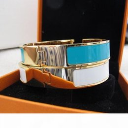 enamel gold plated bangles NZ - 1.1 high grade France designer fashion 316L stainless steel bangles colorful enamel bracelet 18k yellow Gold plated party jewelry for women