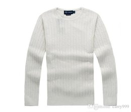 pullover polo UK - New Fashion mile wile polo brand men's twist sweater knit cotton sweater jumper pullover sweater Small horse game men top