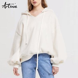 cotton lantern Australia - Artsnie White Casual Cotton Winter 2020 Loose Sweatshirt Women Lantern Sleeve Warm Hoodies Pullovers Autumn Oversized Hoodie