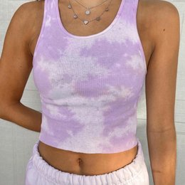 bodycon yoga pants UK - Tie Dye Tank Tops Women Pink Sleeveless Bodycon O-Neck Crop Tops Yoga shirt Summer Streetwear Camis Harajuku Purple Vest Fitness