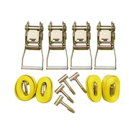 "towing straps NZ - 12pc YLW. 8' Lasso Strap 2"" Ratchet J Finger Hook Tow Truck Tire Wheel Tie Down"
