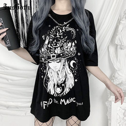 women gothic t shirts Australia - InsGoth Vintage T-shirts Gothic Vintage Swith Print Loose Women Tops T-shirts Streetwear Casual Oversize O-neck Tops Tees MX200721
