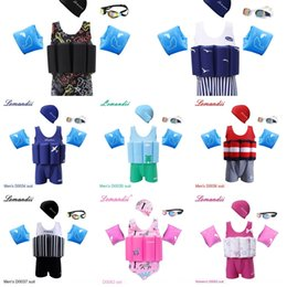 Wholesale boy arms for sale – custom 1H6yt Swimwear children s boys and girls baby sun protection buoyancy one piece swimwear plus arm Swimsuit cap Goggles swimming cap ring plu