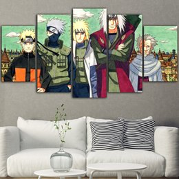 panel anime canvas prints Canada - 5Pieces Poster Anime Hot Anime Naruto Tableau Peinture Sur Toile Canvas Painting Posters And Prints Living Room Drop Shipping