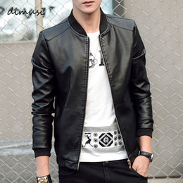 blue bikers jacket UK - DIMUSI Men's leather Jacket PU Biker Coats Fashion Spring Autumn Jackets Mens Faux Leather Slim Fit Motorcycle Coats Clothing