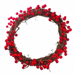 red berry wholesale UK - Simulation Berry Red Fruit Wreath Christmas Wall Door Hanging Pendant Decorations Thanksgiving Halloween Christmas Ornament KPzC#