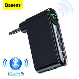 bluetooth audio adapter 3.5mm Canada - Baseus Aux Car Bluetooth Receiver 3.5mm Wireless Audio Receiver Auto Bluetooth 5.0 Car Kit Adapter Handsfree Speaker With Mic