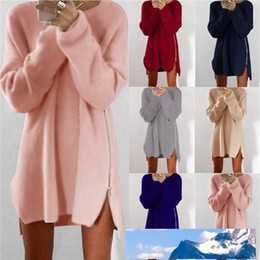 tunic length shirts Australia - Sexy Womens Ladies Winter Long Sleeve zipper Jumper Tops Knitted Oversized Baggy Sweater Casual Loose Tunic Jumpers Mini shirt Dress ONY