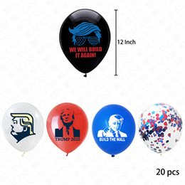 card balloons NZ - 24pcs pack Donald Trump 2020 Flag Balloons Suit Trump Birthday Pull Flag Sting Latex Confetti Balloons Trumpet Cake Cards Accessries D72202