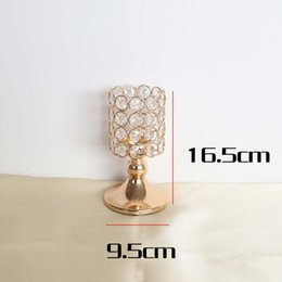 lantern holder stand NZ - 16.5-31.5cm Candlestick Crystal Candle Holders Metal Glass Candlesticks Stand Wedding Decoration Table Centerpieces Home Party Candlestick