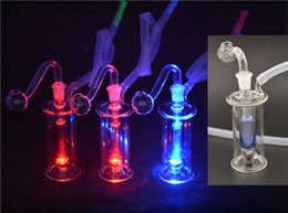 lighting bong Canada - Mini glass oil burner bong with Multicolor LED Light dab Oil Rigs Glass ash catcher Hookahs with glass oil Pot Bowl and hose dhl free