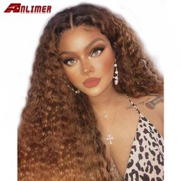 brazilian virgin kinky curly lace wig UK - Lace Front Brazilian Human Hair Wig Kinky Curly Remy Hair Ombre Blonde Lace Front Wigs with Baby Hair for Black Women