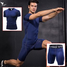 men s compression shorts NZ - Men Shirts & Shorts Summer Compression Running Set Quick Dry Gym Fitness Training Tracksuit Jogging Sport Suit Sportswear Jersey