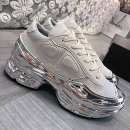 low platform wedges UK - 2020 Mens&women Oversized Sneaker, Silver liquid design sneaker dip effect Sole Sport Trainer Multicolor With Box Size 35-45