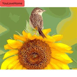 sunflower pictures Canada - Oil Painting Bird Animals Handpainted Drawing Acrylic Wall Art Pictures By Numbers Sunflower Home Decor Gift Wall Art Coloring By Number