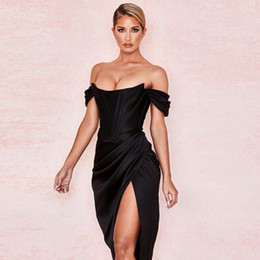 Wholesale sexy dress women for sale - Group buy Cryptographic Off Shoulder Sexy Strapless Split Corset Satin Dresses Fashion Bodycon Dress Women Party Night Club Elegant