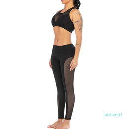 womens white yoga pants UK - Fashion Womens Perspective Solid Yoga Vest Sports Fitness Set Elastic Tops+Pants l01