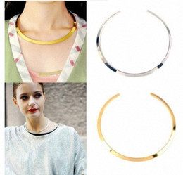 womens choker collars Canada - Wholesale-Fashion Womens Gold Silver Tone Curved Mirrored Metal Choker Collar Mottled Bib Necklace VLRN#