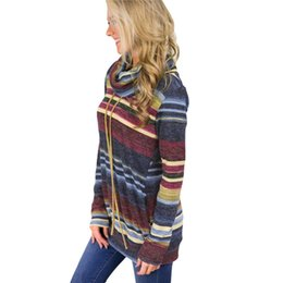 Wholesale pullover tunic online – oversize Blackday Turtleneck Sweater Women Autumn Winter Long Sleeve Sweater Striped Multicolor Casual Pullover Lace Up Knitted Sweater Tunic