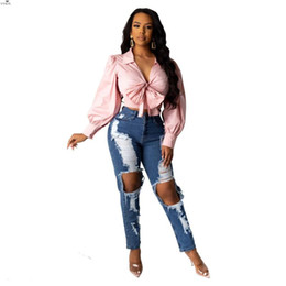 Wholesale korean ladies pants for sale - Group buy New Korean Style Summer Denim Pants Women Retro Solid Sexy Hole Jeans Ripped Pencil Trousers Street Skinny High Waist Lady Pants