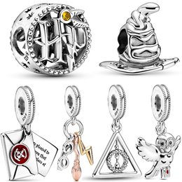100% 925 sterling silver harry hedwig owl charm deathly hallows dangle beads fit original Pandora bracelet woman jewelry pendant on Sale