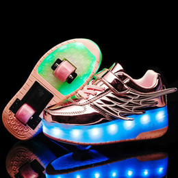 wheel boys shoes Canada - RISRICH Kids LED roller shoes glowing light up usb charging luminous sneakers with wheels kids rollers skate shoes for boy girls CX200724