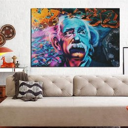 pop art painting portrait NZ - Modern Albert Einstein Portrait Abstract Oil Painting on Canvas Graffiti Pop Art Poster Prints Wall Art Pictures for Bedroom Home Decor