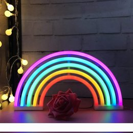indoor lighted signs NZ - Cute Rainbow Neon Sign,LED Rainbow Light Lamp for Dorm Decor,Rainbow Decor Neon Lamps,Wall Decor for Girls Bedroom,Christmas