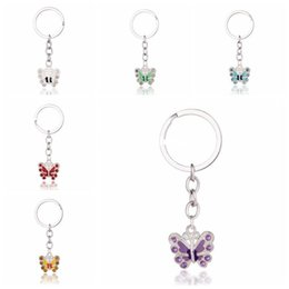 wholesale crystal diamond key rings Australia - Butterfly Keychains Rhinestones Diamonds Crystal Alloy Bag Car Phone Key Chain Pendant Key rings Decoration Jewelry for women Gifts ps0597