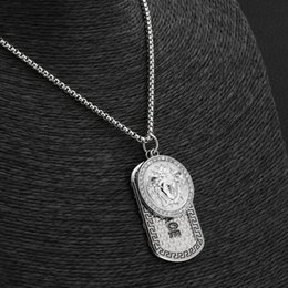 animal dog tags UK - Hot sale Hip Hop Designer Necklaces Vintage Women Head Iced Out Lion Head Dog Tag Pendant designer Jewelry Christmas Gift