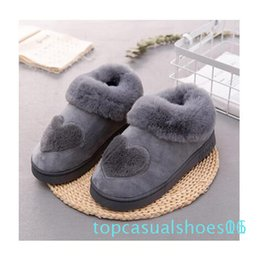 heart shaped plush NZ - New Arrival Heart-Shaped Cotton Women Slippers Warm Plush Winter Fur Slippers Soft Indoor Shoes Flat With Home Slippers T01