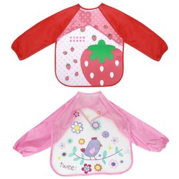 pink aprons wholesale Australia - 2pcs Baby Waterproof Art Aprons Children Artist Painting Aprons Creative Drawing Clothes (Red Strawberry, Pink Bird, 2pcs Pack)