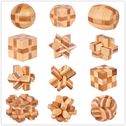 12 Style IQ Brain Teaser Kong Ming Lock 3D Wooden Interlocking Burr Puzzles Game Toy Bamboo Small Size For Adults Kids on Sale