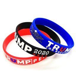 birthday wristbands UK - Trump Silicone Wristband Rubber Support Bracelets Bangles Make America Great Donald Trump 2020 Jewelry gift