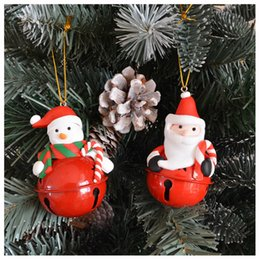 keys bell UK - Jingle Bells-6pcs Christmas Tree Decoration Hanging Ornaments Accessories For Home Color Key Bells Pendant Crafts