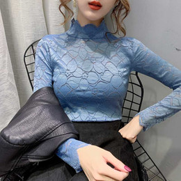 Wholesale lace undershirts resale online - Girls Lace Blouses Shirts Tees Female Hollow Out Turtleneck Full Sleeve Elegant Stretchy Undershirts Blouse Tops For Women