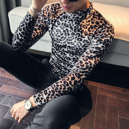 mens leopard print t shirts Canada - Top Quality Men T Shirt Fashion 2020 Autumn Winter Slim Fit Casual T-Shirts Mens Long Sleeve High Collar Leopard Print Tops&Tees