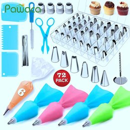 coupler icing bags Canada - 72pcs Cake Decorating Supplies Sets with Icing Tips, Pastry Bags, Icing Smoother, Piping Nozzles Coupler DIY Baking Pastry Tools T200524