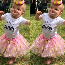Discount baby shower gowns Hey Grandma grandpa I Can't Wait To Meet You Letter Print Girls Pink Tutu Cake Outfits Girls Dresses Suit Baby Shower Gifts